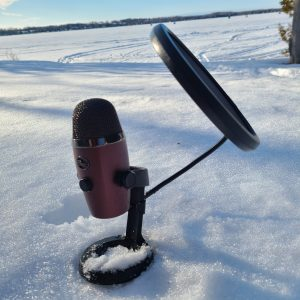 Podcast microphone in the snow